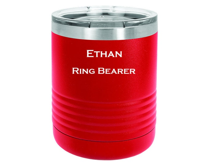 Ring Bearer Name Tumbler - 10 ounce - Stainless Steel with Clear Lid - Choice of Colors, Name, Date & Font - Custom Engraved - Bridal Gift