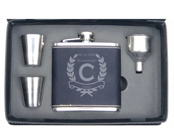 Black Flask Gift Set 6 ounce Leatherette wrapped Stainless Steel Flask with a Leatherette Gift Box Custom Engraved - Choice of Three Designs