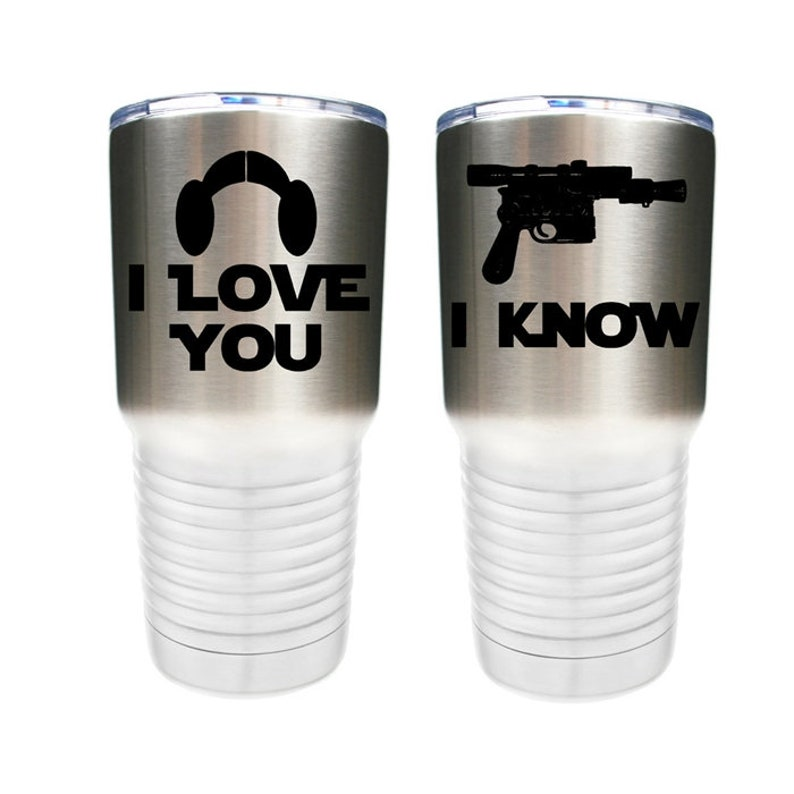 I Love You I Know  Star Wars Inspired  Set of 2  Stainless image 0