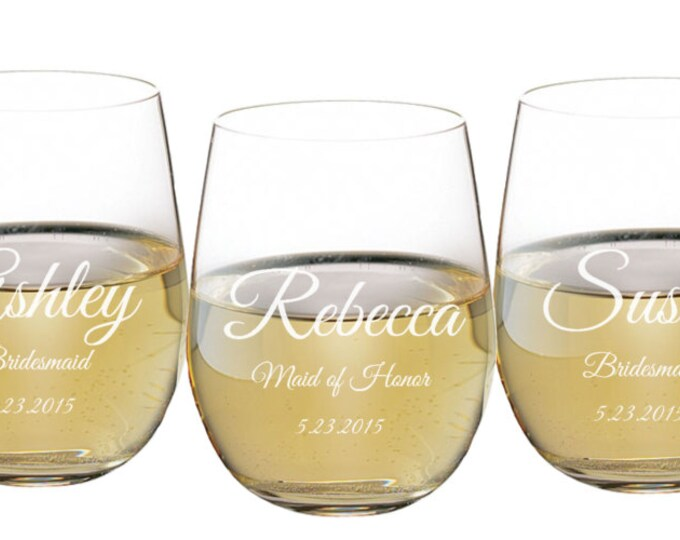Stemless Wine Glass, 17 ounce Personalized Engraved, Toasting Glass, Wedding Favor, Bridal Party Gift, Bridesmaid, Groomsmen ANY QUANTITY