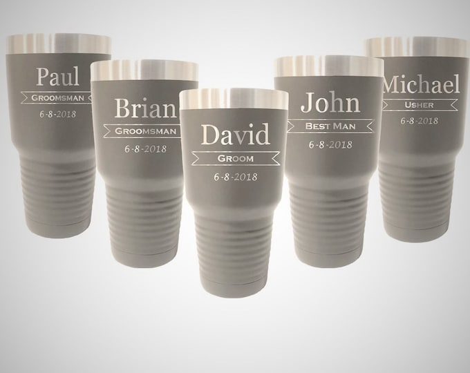 Groomsmen Tumblers - Set of 5 - Stainless Steel with a Clear Lid - 30 ounce - Custom Engraved - Choices of Color & Design