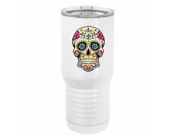 Elegant Full Color Sugar Skull Design on a 20 ounce White Stainless Steel Tumbler with a Clear Lid & Choices of Four Designs