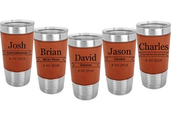 Stainless Steel Tumbler wrapped in Leatherette 20 ounce in Sets of 4 to 15 Engraved w/Clear Lid including Choices of Color, Design & Text