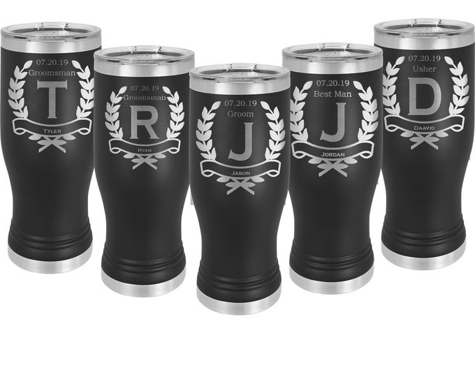Wedding Party Pilsner Tumbler 20 oz Stainless Steel with a Clear Lid Laser Engraved including Choices of Seventeen Colors & Twelve Designs