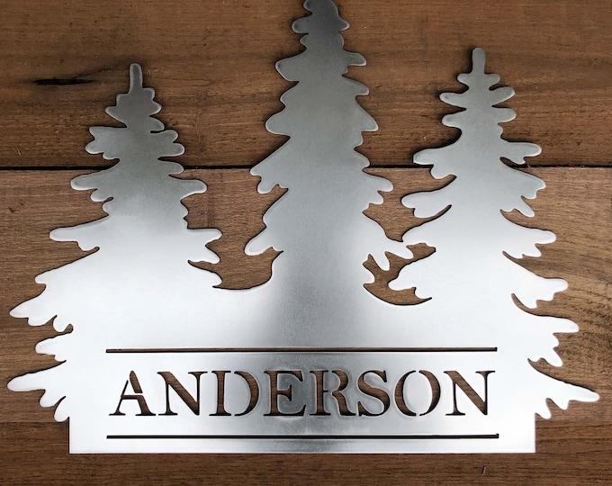 Monogram House Sign, Door Monogram, Front Door Decor, Family Name, Pine Trees, Forrest
