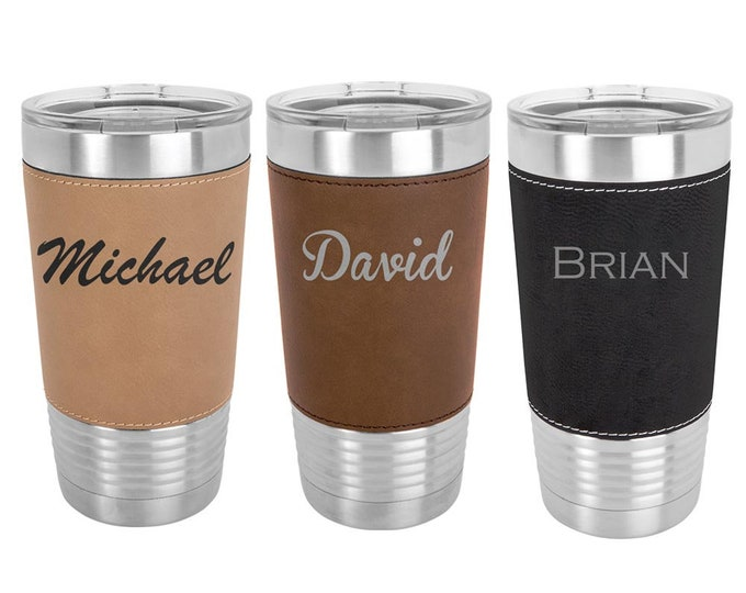 Modern Name Tumbler 20 ounce Leatherette Stainless Steel - Set of 4 to 15 - Custom Engraved w/Clear Lid - Choices of Color, Text & Font
