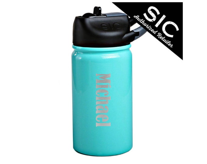 Water Bottle 12 oz - Leak Proof Carabiner Flip Straw Lid - Stainless Steel - Choices of Color, Name & Date - Personalized Custom Engraved