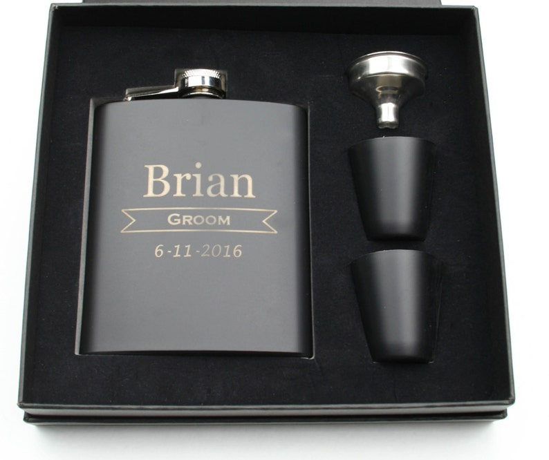 Elegant Black Stainless Steel Hip Flask Gift Set with a Gift image 0