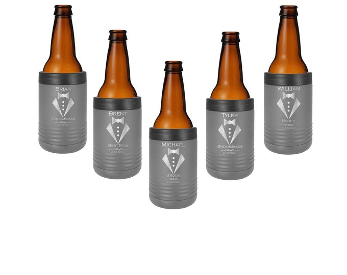 Tuxedo Design Beverage Holder made of Stainless Steel Personalized Custom Engraved with Choice of Color, Title, Name and Date