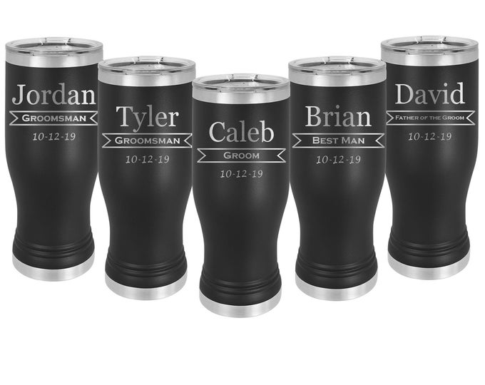Elegant Laser Engraved Wedding Design on a Pilsner 20 ounce Tumbler Stainless Steel with Clear Lid including Choices of Color, Design & Text