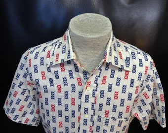e138f4b9 Vintage Men's Sears Kings Road Blue Red Striped Geometric 1980's Big Collar Disco  Shirt Size Small 14.5!