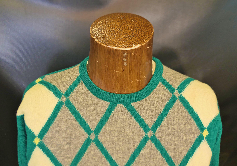 1950s Mens Hats | 50s Vintage Men's Hats Vintage Mens Pringle Green Gray White Geometric Plaid Long Sleeve Sweater Wool Size Medium 1960s 1950s $0.00 AT vintagedancer.com