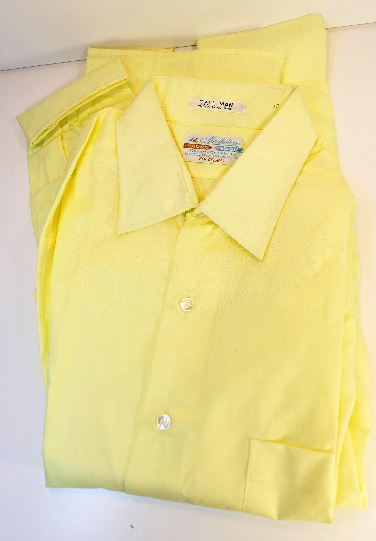 1970s Mens Shirt Styles – Vintage 70s Shirts for Guys Vintage Mens NosNwt Deadstock Manhattan Dura Brite Solid Yellow Long Sleeve Dress Shirt Size 15 Medium 1970s $0.00 AT vintagedancer.com
