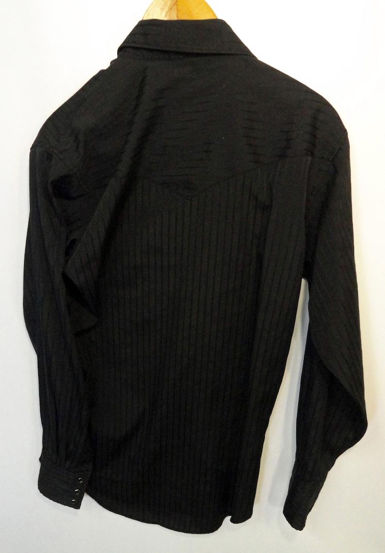 Vintage Wrangler Black Long Sleeve Polyester Pearl Snap Western Shirt Size Large!