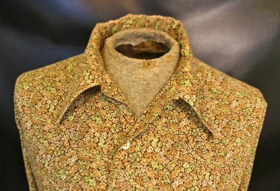 Vintage Men's Golden Key Brown Green Beige Big Col