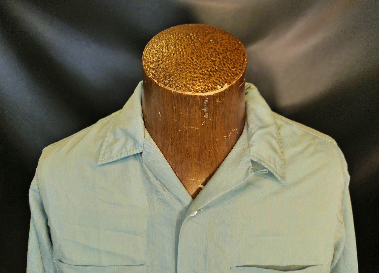 1950s Mens Hats | 50s Vintage Men's Hats Vintage Mens Nn Xi East 1950s 1960s Solid Blue Long Sleeve Dress Shirt Size Medium $0.00 AT vintagedancer.com