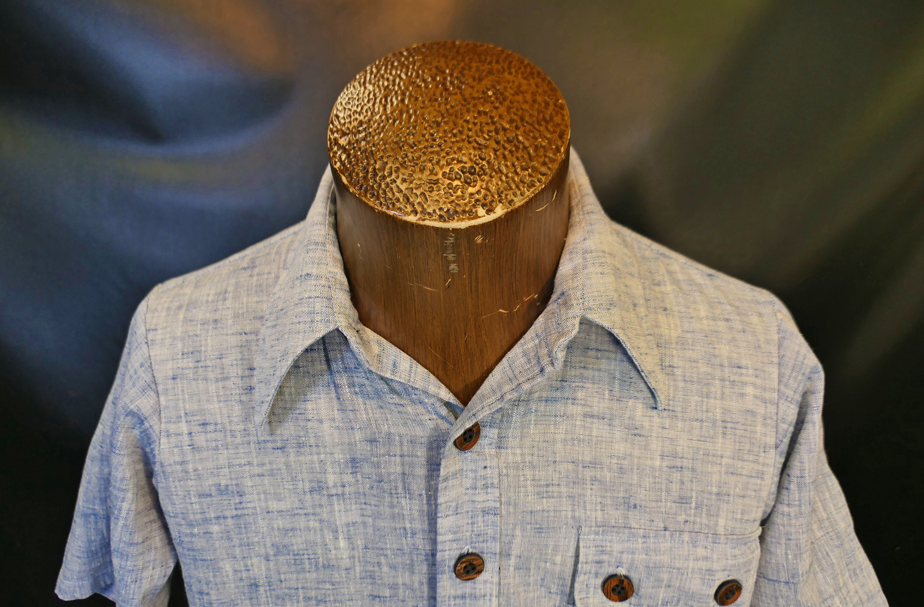 1970s Men's Shirt Styles – Vintage 70s Shirts for Guys Vintage Mens Manhattan This Is My Bag Blue Solid Chambray Big Collar Dress Shirt 1970s Designer Size Small $44.00 AT vintagedancer.com