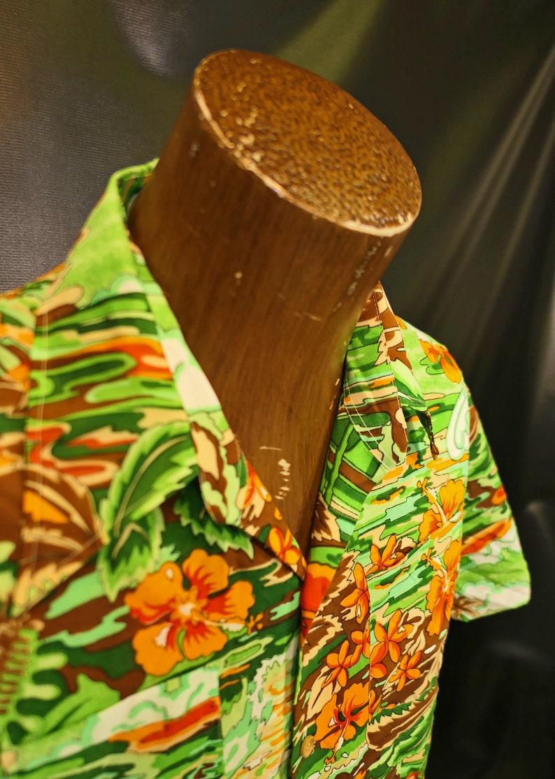 Vintage Palmtrees of Branford Green Orange Brown Hawaiian Shirt Bright Size Large 1980/'s 1970/'s!