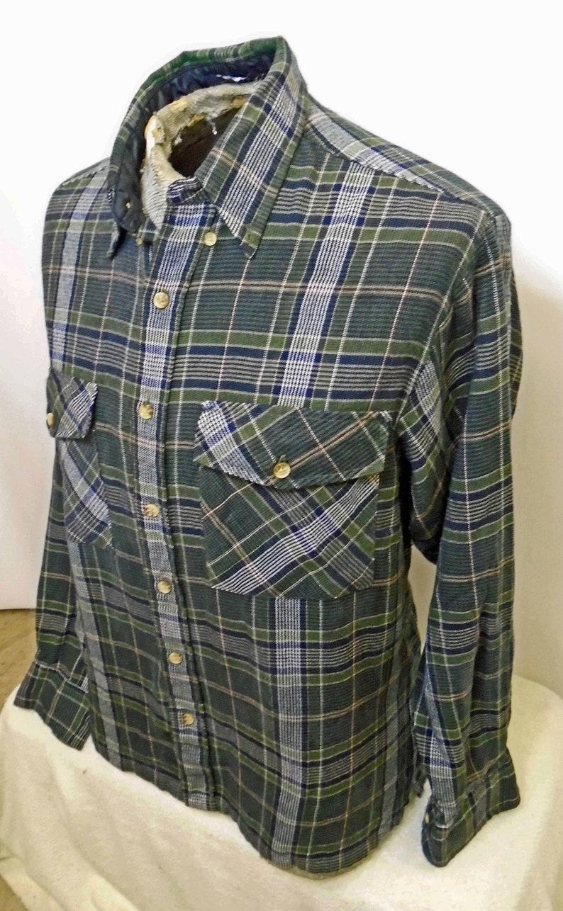 Vintage Men/'s Arrow Tournament Green Blue Long Sleeve Flannel 1990/'s Size Large!