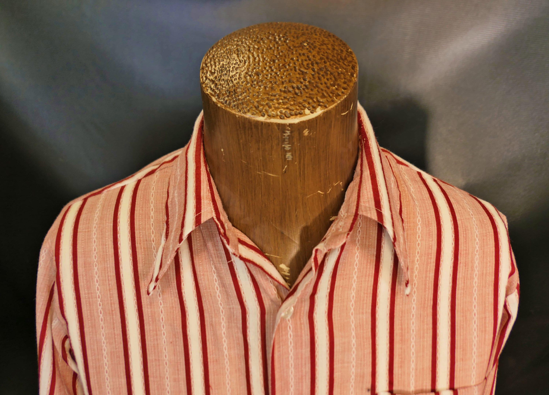 1970s Men's Shirt Styles – Vintage 70s Shirts for Guys Vintage Mens Ferranti Pink Red White Striped Big Collar Dress Shirt Long Sleeve Size Medium 1960s 1970s $55.00 AT vintagedancer.com
