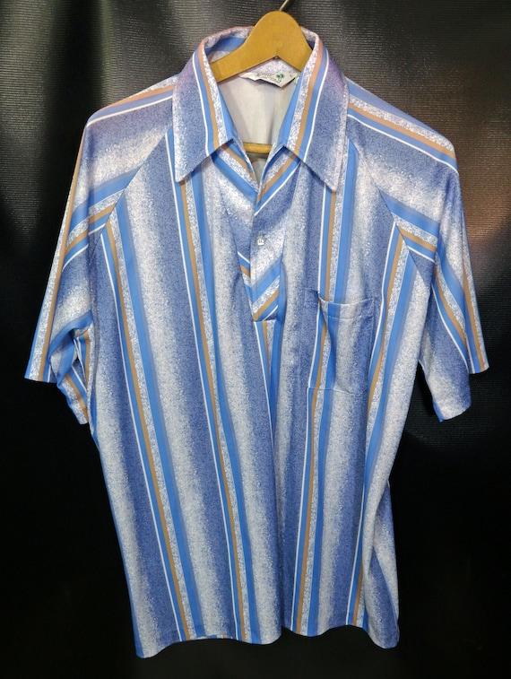 1970 Ware ' s Resort Ware 1970 Californie rayé bleu gros col manches courtes robe Disco chemise bouton pour homme Vintage Up grande taille 4ae224