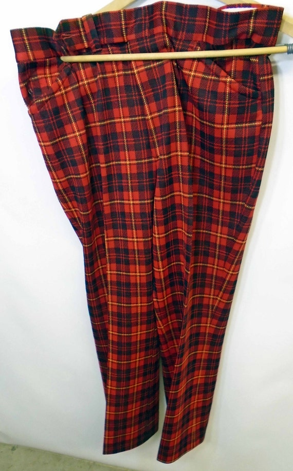 Vintage Men's Jantzen Plaid Red Classic Golf Colle