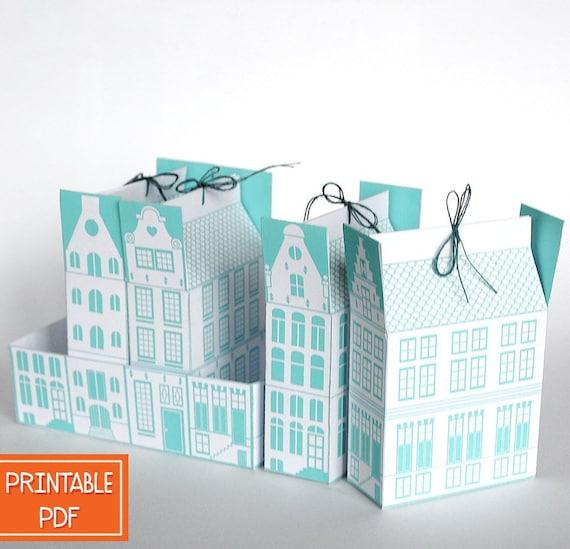 Printable Diy Gift Box Template Dutch Canal House Digital Pdf Packaging Christmas Gift Netherlands City Housewarming Amsterdam
