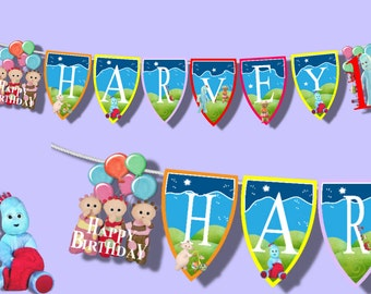 In the night garden personalised photo banner name birthday bunting large