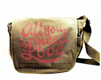 Army Green Messenger Bag with All You Need is Love-Hipchik