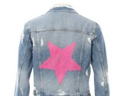HOT PINK Studded Star distressed Denim Jacket - Hipchik