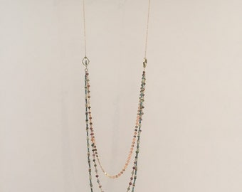 Necklace triple strand, tourmaline, turquoise and gold plated rondelle chain