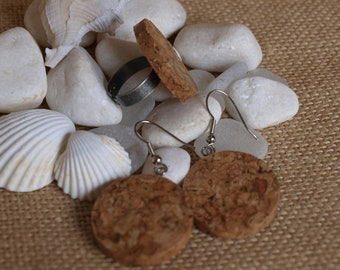 ring set and cork earrings