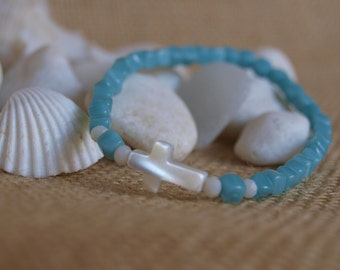 aquamarine bracelet & mother-of-pearl