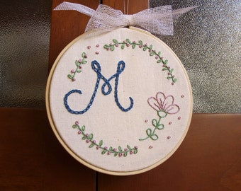 hand-embroidered initial frame