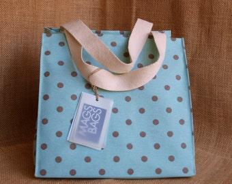 polka dot blue bag