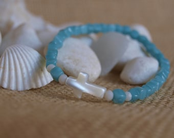 aquamarine bracelet & mother-of-pearl