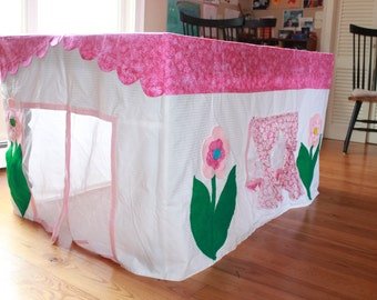 Made to order Cottage Tablecloth fort playhouse custom made to fit your dining table