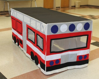 Made to order Fire Truck Tablecloth Fort playhouse custom made to fit your dining table