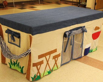 Made to order Camping Tent Tablecloth fort playhouse custom made to fit your dining table