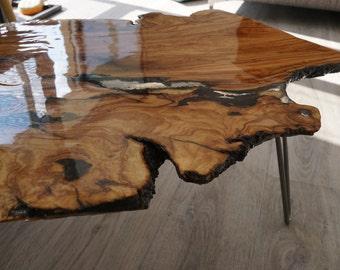 Live edge wood coffee table Grey Live Edge Resin Filled Coffee Occasional Table Custom Order Request Required To Select Wood Resin And Legs Etsy Live Edge Coffee Table Etsy