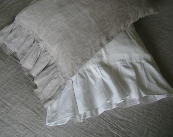 Linen Pillowcase with ruffles Frill Pillow Sham White or Oatmeal Beige Standard Queen King Euro Pillow Case Slip Cover