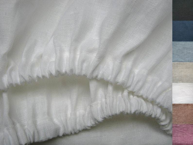 Linen Fitted Sheets Queen King Twin Xl Full Double California Etsy