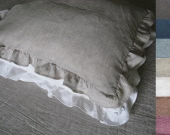 Linen Ruffle Pillow Cover Pillowcase Standard Queen King Euro Linen Bedding