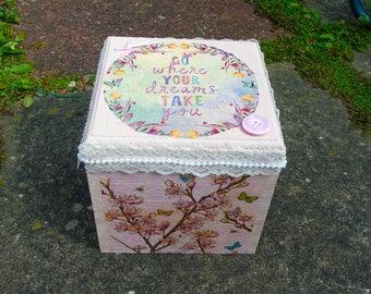 Keepsake box, wooden box,  decoupaged box, decorated box, hand painted box, jewellery box, handmade wooden box,  small storage box