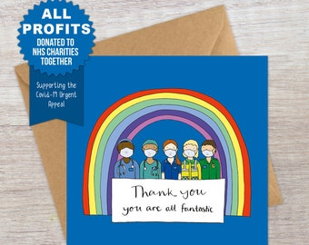 Thank you card with donation to NHS
