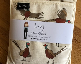 Pheasant Oven Gloves   Oven mitts   country kitchen   made in the UK