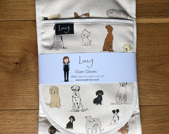 Dog Oven Gloves   Kitchenware   country kitchen   made in the UK