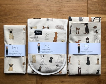 Dog Bundle - Oven Gloves, Apron and a Tea Towel   Kitchenware   country kitchen   made in the UK