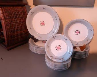 "Seyei Fine China Plates and Bowls, ""Bella Maria"" Design, Dinner Plates, Salad Bowls, Small Plates, Set of 24"