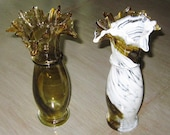 Vintage Hand Blown Glass Vases, Pair of Vases, Brown and White Vase, Glass Vase